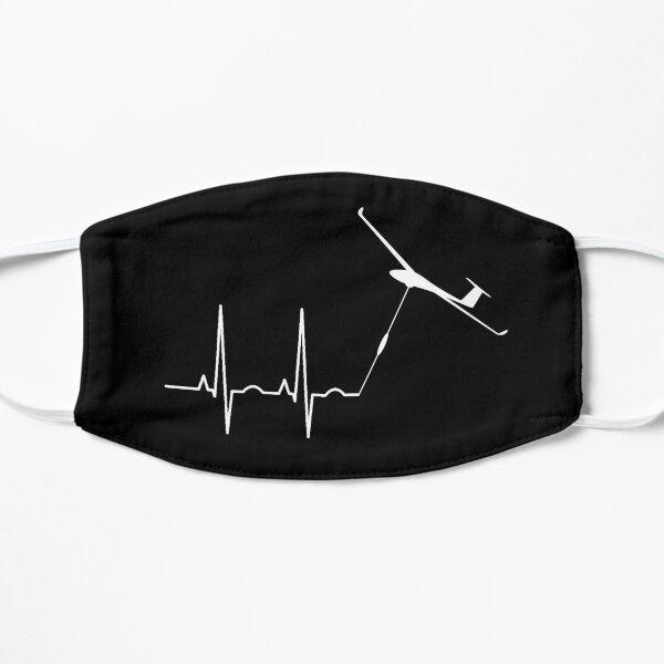 Glider pilot glider pilot heartbeat gift idea Flat Mask