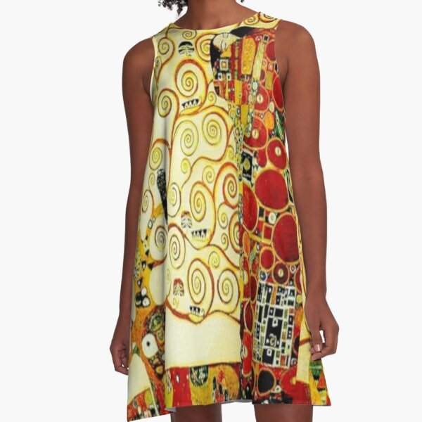 """The Tree of Life"" by Gustav Klimt | Art Nouveau Symbolism A-Line Dress"