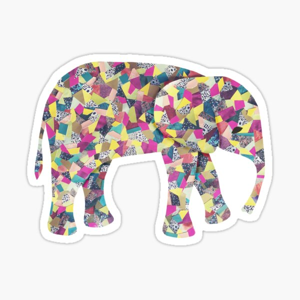 Elephant Collage in Gray Hot Pink Teal and Yellow Sticker