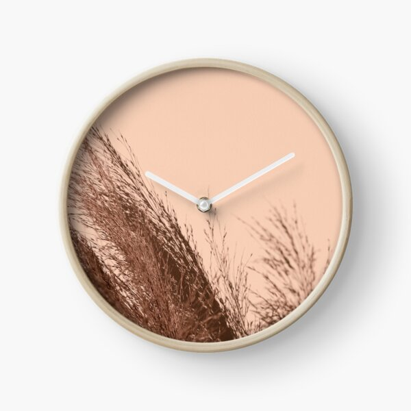 Pampas Grass Rose Gold Minimal Clock
