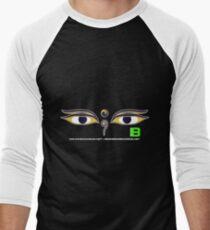 Crunk Eco Wear | Be Green Records Merch | Buddha Eyes 33 Men's Baseball ¾ T-Shirt