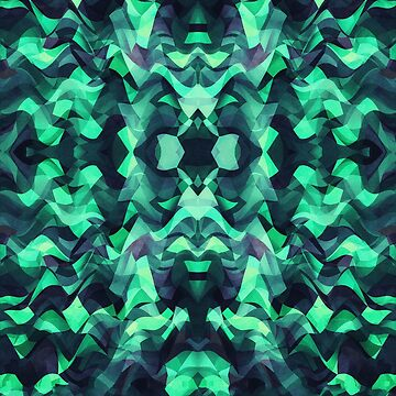 Abstract Surreal Chaos theory in Modern poison turquoise green von badbugs