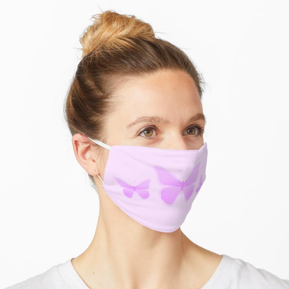 Pastel Light Pink Butterflies Mask