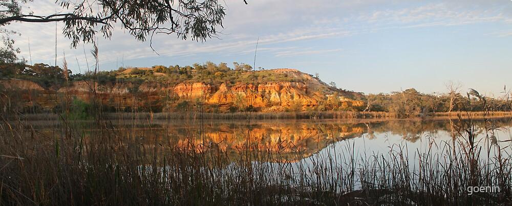 Golden Murray River Cliffs. by goenin