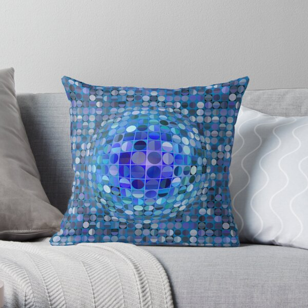 Esfera de ilusión óptica - azul Cojín