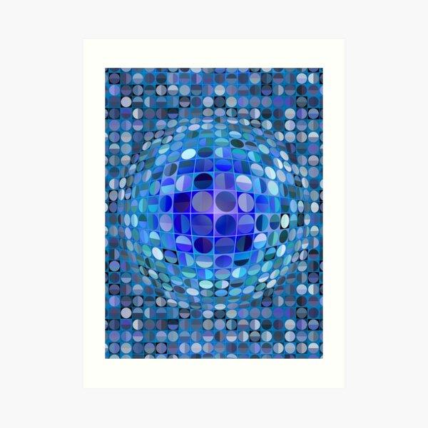 Optical Illusion Sphere - Blue Art Print