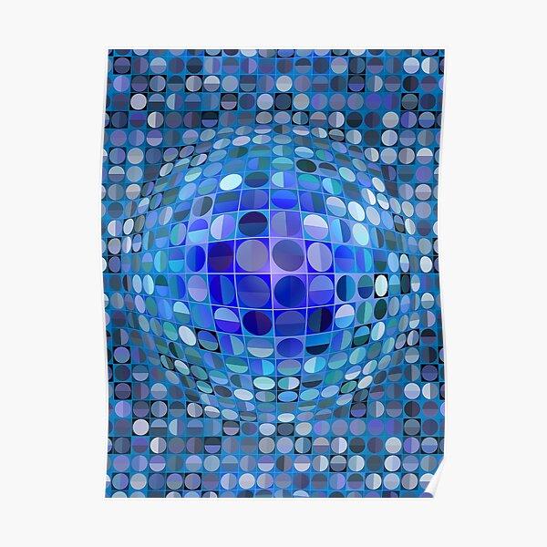 Sphère d'illusion optique - Bleu Poster