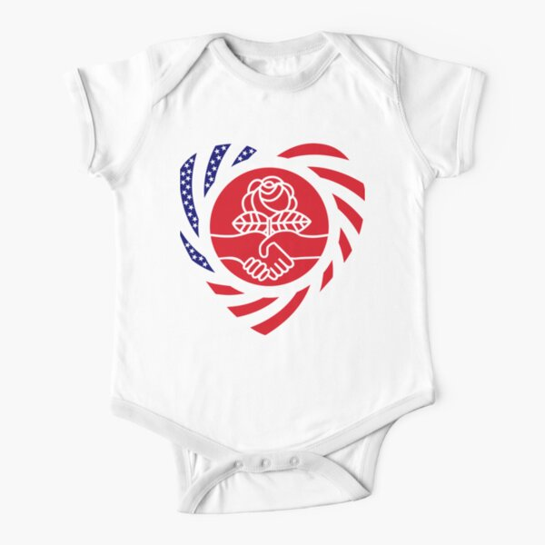 Democratic Socialist Murican Patriot Flag Series (Heart) Short Sleeve Baby One-Piece