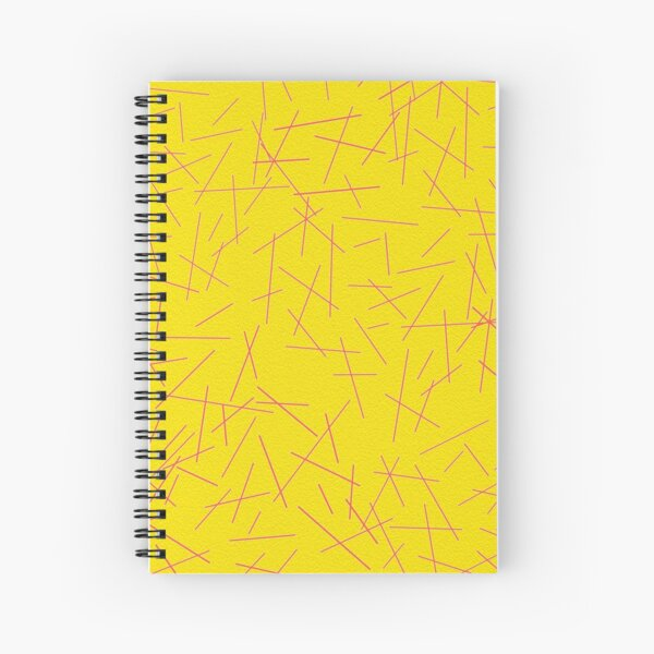 Yellow and Pink Abstract Lines Design Spiral Notebook