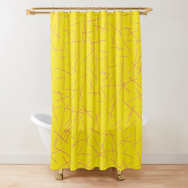 Yellow and Pink Abstract Lines Design Shower Curtain