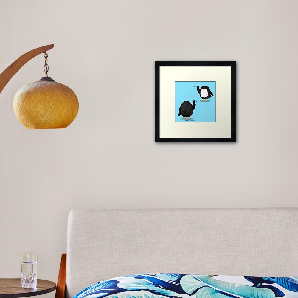 Penguins Waving Framed Art Print