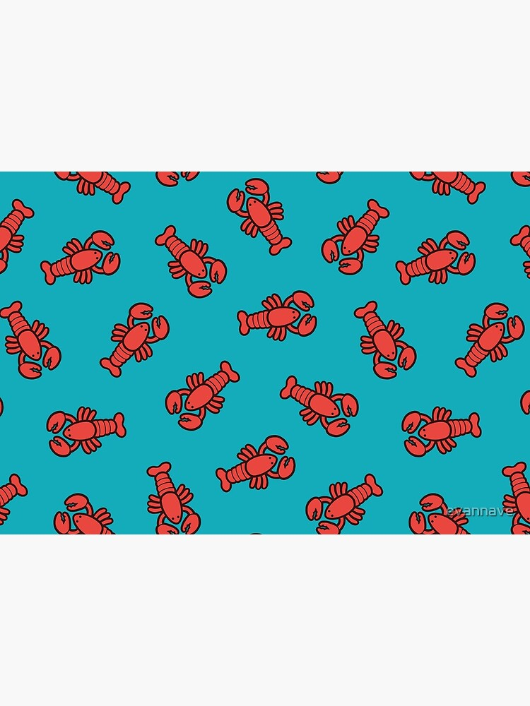 Lobsters Pattern on Turquoise Blue by evannave