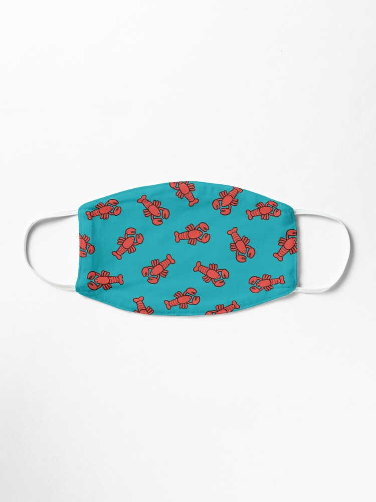 Alternate view of Lobsters Pattern on Turquoise Blue Mask