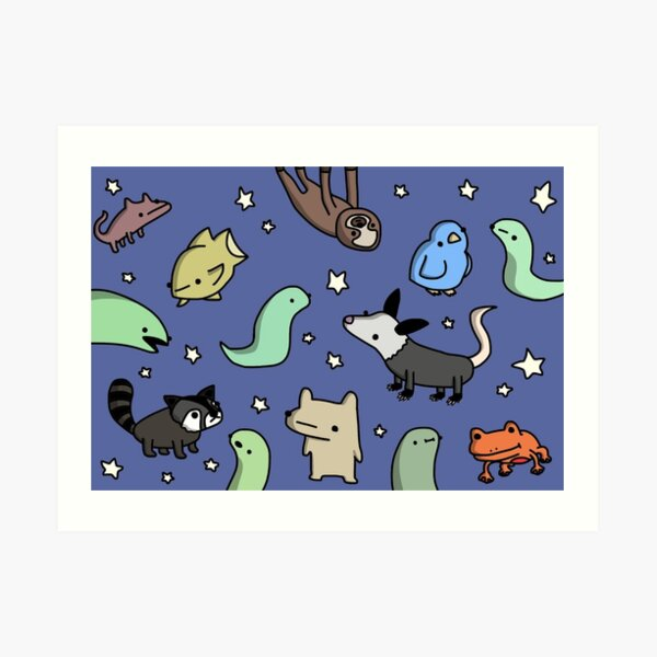 Nighttime Pals - Tiny Snek Comics Art Print