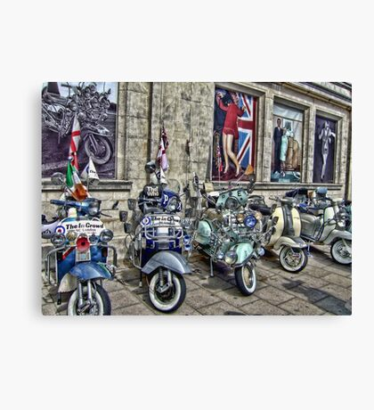 Mod scooters and 60s fashion Canvas Print