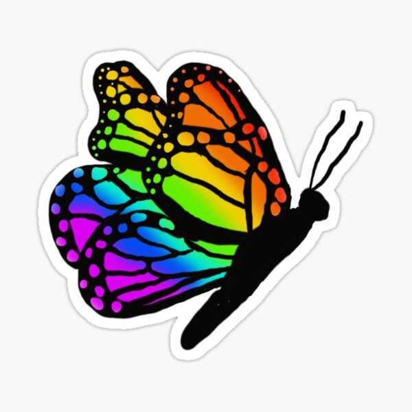 Black and Rainbow Butterfly Sticker