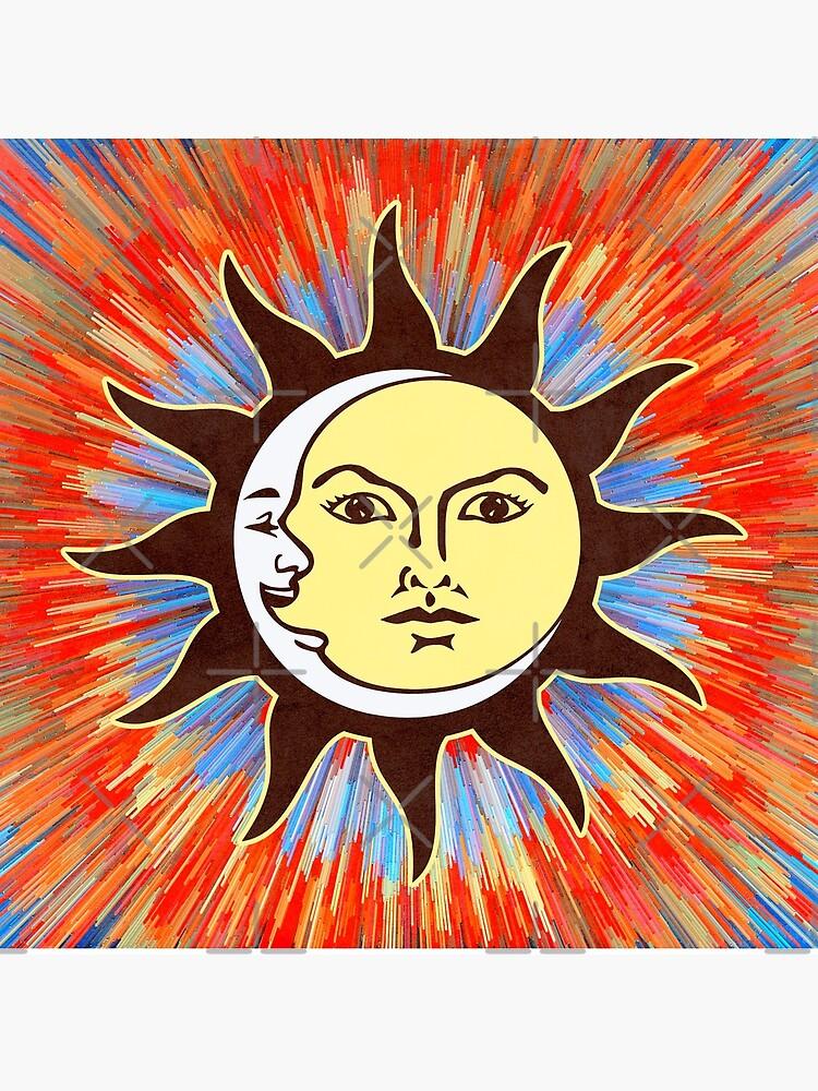 Psychedelic Sun & Moon / Peace Sign Bohemian Hippie Festival  by ImageMonkey