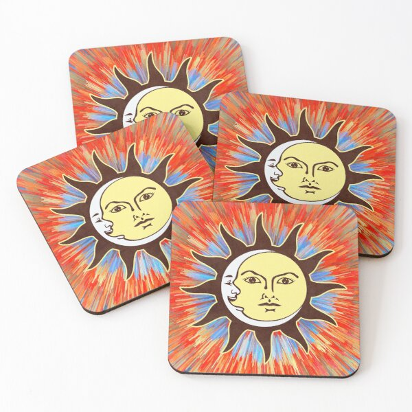 Psychedelic Sun & Moon / Peace Sign Bohemian Hippie Festival  Coasters (Set of 4)
