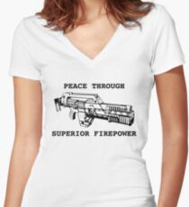 Peace Through Superior Firepower Women's Fitted V-Neck T-Shirt