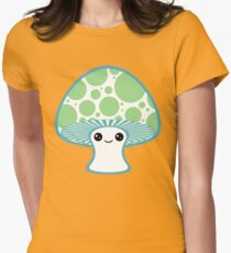 Green Polka Dotted Mushroom Womens Fitted T-Shirt