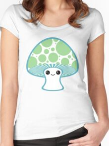 Green Polka Dotted Mushroom Women's Fitted Scoop T-Shirt