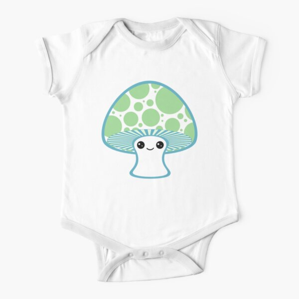 Green Polka Dotted Mushroom Short Sleeve Baby One-Piece