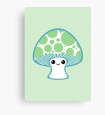 Green Polka Dotted Mushroom Canvas Print