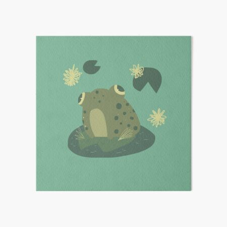Green Frog Art 6X6 Canvas Gallery Wrapped Art Baby Talk I