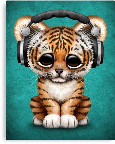 Cute tiger cub dj wearing headphones on blue canvas prints by jeff cute tiger cub dj wearing headphones on blue by jeff bartels altavistaventures Gallery