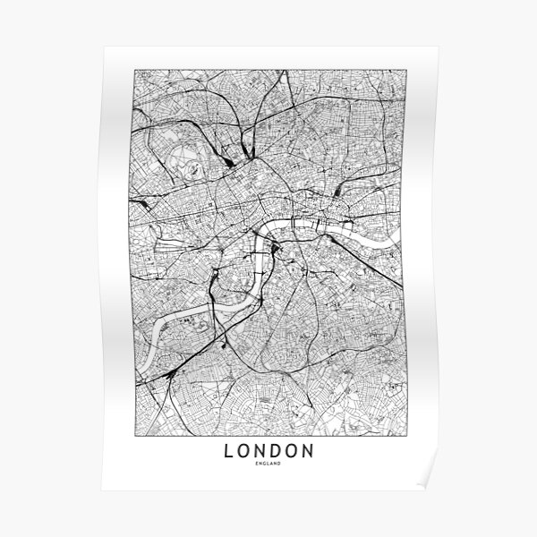 London White Map Poster