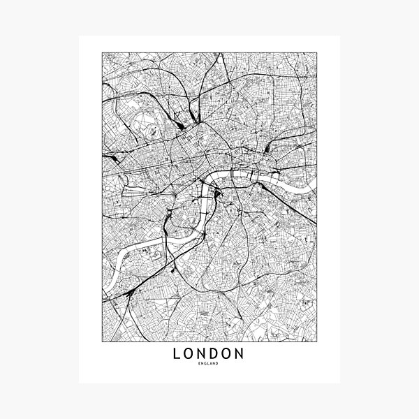 London White Map Photographic Print