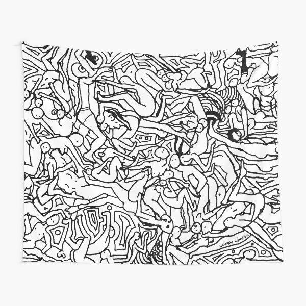 Kamasutra Monotone BW Retro Bodies Tapestry