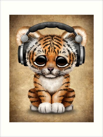 Cute tiger cub dj wearing headphones art prints by jeff bartels cute tiger cub dj wearing headphones by jeff bartels thecheapjerseys Image collections