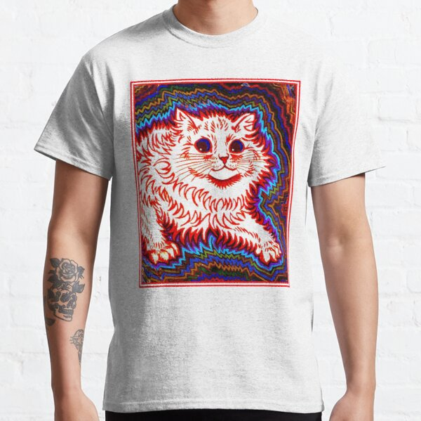 ORANGE CAT : Vintage Louis Wain Abstract Psychedelic Print Classic T-Shirt
