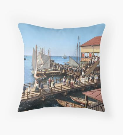 Pier at the inlet, Atlantic City, N.J. year 1904 Throw Pillow