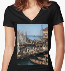 Pier at the inlet, Atlantic City, N.J. year 1904 Women's Fitted V-Neck T-Shirt