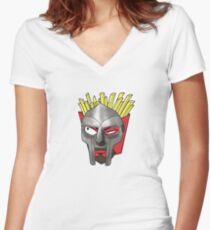 MF DOOM Shirt - FRYDOOM Women's Fitted V-Neck T-Shirt