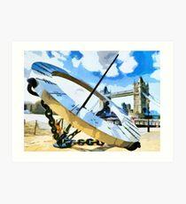The Timepiece Sculpture + Tower bridge  Art Print