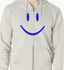 BLUE SMILEY FACE Zipped Hoodie