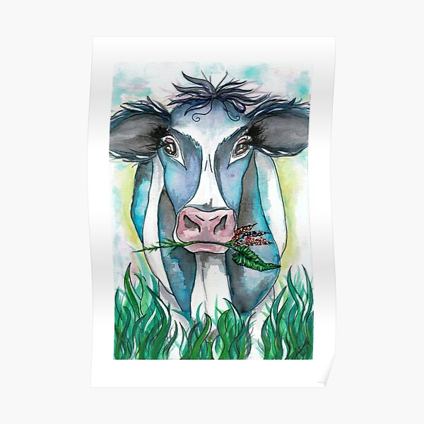 Cow With Flowers Poster