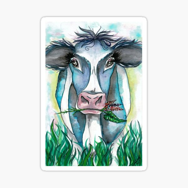 Cow With Flowers Sticker