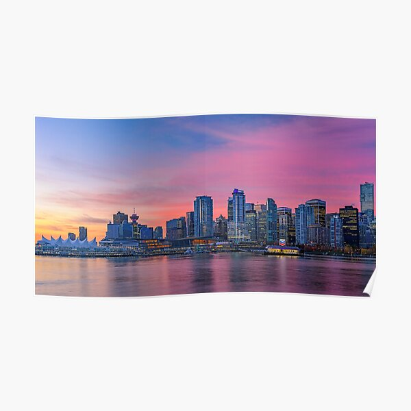 Downtown Vancouver During Sunrise Poster