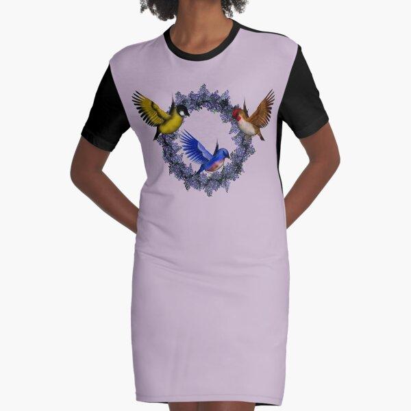 Birds On Purple Floral Wreath Graphic T-Shirt Dress