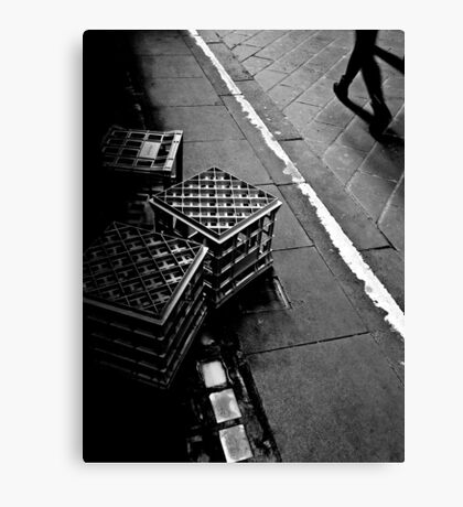 The lonely life of a milk crate (watching the world go by) Canvas Print