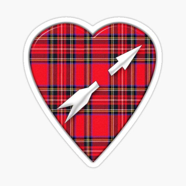 Scottish Royal Stewart Tartan Arrow Heart Sticker