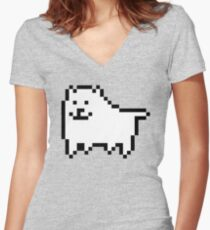 undertale - annoying dog Women's Fitted V-Neck T-Shirt