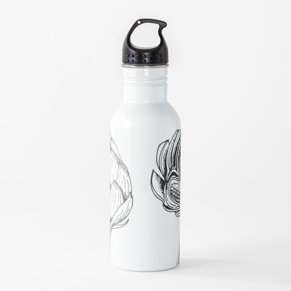 Artichokes Black and White Water Bottle
