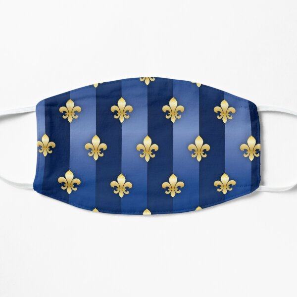 Fleur de Lys Gold und Blau Metallic-Effekt Flache Maske