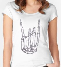 Rock On Skeleton Hand  Women's Fitted Scoop T-Shirt