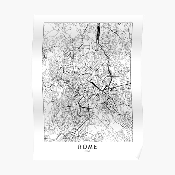 Rome White Map Poster